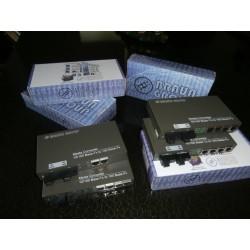 2xFO WDM + 4x RJ45 Media Converter bridge