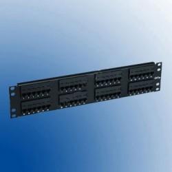 Patch Panel 48 porturi RJ45 2U negru  standard de sertizare 110