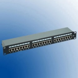 Patch Panel 24 porturi RJ45 1U ecranat STP