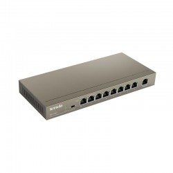 Switch 9 porturi 10/100Mbps cu 8 *PoE+uplink, protectie 4kV fulgere, sursa 51V/2.5A